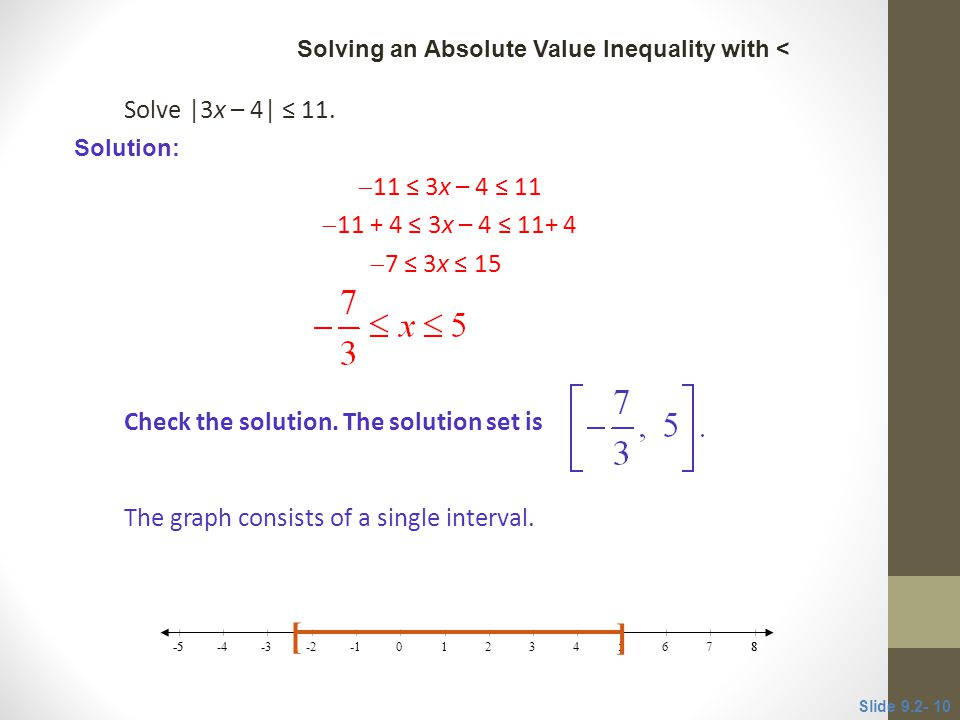 [ ] Solve |3x – 4| ≤ 11. 11 ≤ 3x – 4 ≤ 11 11 + 4 ≤ 3x – 4 ≤ 11+ 4